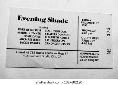 """Los Angeles - March 3, 2019:  Audience ticket to TV taping of """"Evening Shade"""", starring Burt Reynolds, on December 17, 1993."""