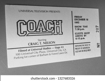"""Los Angeles - March 3, 2019:  Audience ticket to TV taping of """"Coach"""", starring Craig T. Nelson, on December 18, 1992."""