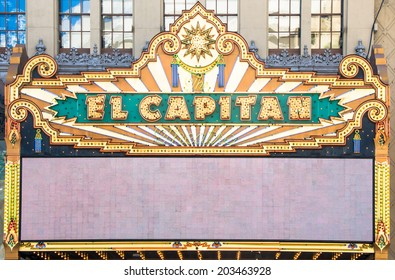 LOS ANGELES - MARCH 30: El Capitan Theater on March 30, 2014 in Hollywood. El Capitan Theater is owned and operated by The Walt Disney Company.