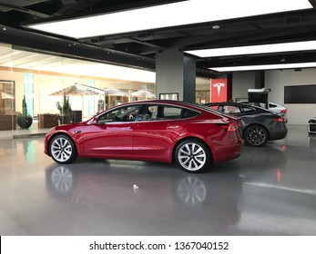 LOS ANGELES, March 30th, 2019: Teslas are on display inside the showroom at the Tesla store inside the Westfield shopping mall in Century City.