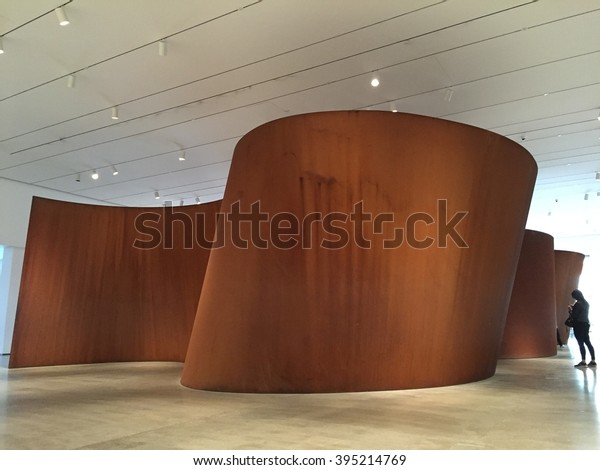 LOS ANGELES - MARCH 5: Band by Richard Serra at The Broad Contemporary Art Museum at LACMA on March 5, 2016 in Los Angeles, California, USA.