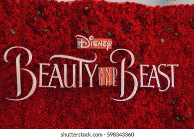 LOS ANGELES, MARCH 6TH, 2017: Close up of giant title logo for Disney's new 2017 Beauty and the Beast movie, made out of fresh red roses, at the IMAX theater at the Chinese Theatre in Hollywood.