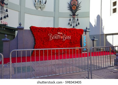 LOS ANGELES, MARCH 6TH, 2017: Giant title logo for Disney's new 2017 Beauty and the Beast movie, made of fresh roses, in front of the red carpet at the IMAX theater at the Chinese Theatre in Hollywood