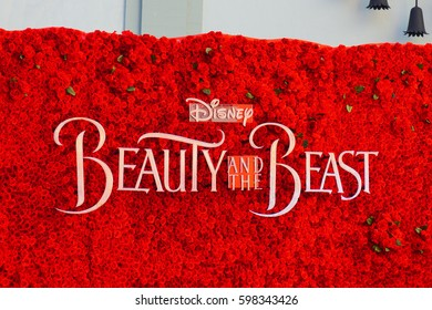 LOS ANGELES, MARCH 6TH, 2017: Close up of giant title logo for Disney's new 2017 Beauty and the Beast movie, made out of fresh red roses, at the IMAX theater at the Chinese Theatre in Hollywood