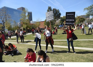 LOS ANGELES - MARCH 8, 2017: Hundreds March In Downtown LA For  Women's Day in Los Angeles, USA.