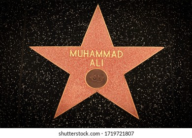 Los Angeles - March 8, 2020:  Muhammad Ali's star on the Hollywood Walk of fame