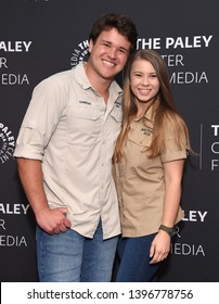 LOS ANGELES - MAY 03:  Chandler Powell and Bindi Irwin arrives for An Evening with the Irwins on May 03, 2019 in Beverly Hills, CA