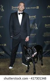 LOS ANGELES - May 1: Brandon McMillan, dog Atlas at The 43rd Daytime Emmy Awards Gala at the Westin Bonaventure Hotel on May 1, 2016 in Los Angeles, California