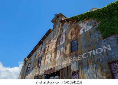 Los Angeles, MAY 11: Exterior view of the old Paradox Iron building on MAY 11, 2019 at Los Angeles, California