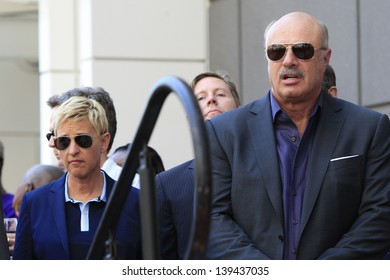LOS ANGELES - MAY 13: Ellen DeGeneres, Dr Phil McGraw at a ceremony where Steve Harvey is honored with a star on the Hollywood Walk Of Fame on May 13, 2013 in Los Angeles, California