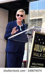 LOS ANGELES - MAY 13:  Ellen DeGeneres at the Steve Harvey Hollywood Walk of Fame Star Ceremony at the W Hollywood Hotel  on May 13, 2013 in Los Angeles, CA