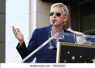 LOS ANGELES - MAY 13: Ellen DeGeneres at a ceremony where Steve Harvey is honored with a star on the Hollywood Walk Of Fame on May 13, 2013 in Los Angeles, California