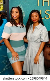 """LOS ANGELES - MAY 13:  Halle Bailey, Chloe Bailey at the """"The Sun Is Also A Star"""" World Premiere at the Pacific Theaters at the Grove on May 13, 2019 in Los Angeles, CA"""