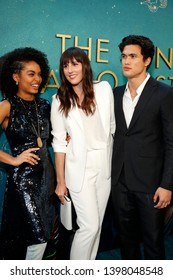 "LOS ANGELES - MAY 13:  Yara Shahidi, Ry Russo-Young, Charles Melton at the ""The Sun Is Also A Star"" World Premiere at the Pacific Theaters at the Grove on May 13, 2019 in Los Angeles, CA"