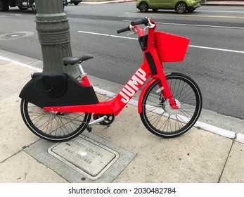 LOS ANGELES - MAY 15, 2019: A JUMP electric bicycle for rent on a Los Angeles sidewalk.