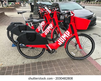 LOS ANGELES - MAY 15, 2019: JUMP electric bicycles for rent in Los Angeles.