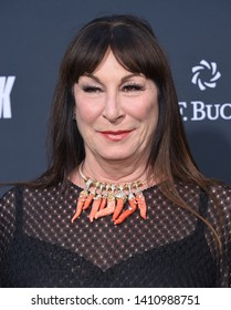 LOS ANGELES - MAY 15:  Anjelica Huston arrives for the John Wick: Chapter 3 - Parabellum' L.A. Special Screening on May 15, 2019 in Hollywood, CA