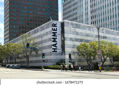 LOS ANGELES, May 17th, 2019: Hammer Museum Westwood, California. Wide shot of building exterior seen from the corner of Lindbrook and Westwood Blvd, with pedestrians crossing street.