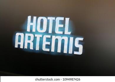 """LOS ANGELES - MAY 19:  Hotel Artemis Atmosphere at the """"Hotel Artemis"""" Premiere at Bruin Theater on May 19, 2018 in Westwood, CA"""