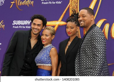 "LOS ANGELES - MAY 21:  Trey Smith, Jaden Smith, Jada Pinkett Smith, Will Smith at the ""Aladdin"" Premiere at the El Capitan Theater on May 21, 2019 in Los Angeles, CA"