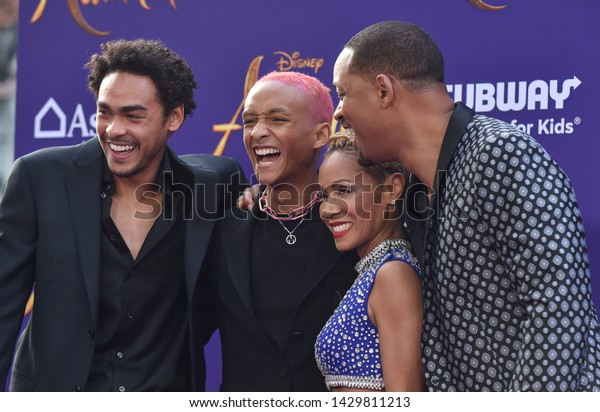 LOS ANGELES - MAY 21:  Trey Smith, Jaden Smith, Jada Pinkett Smith and Will Smith arrives for the 'Aladdin' World Premiere on May 21, 2019 in Hollywood, CA