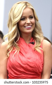 """LOS ANGELES - MAY 22: Emily Maynard from ABC's """"The Bachelorette"""" does an interview with """"Extra"""" at The Grove in Los Angeles, CA on May 22, 2012."""
