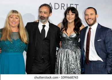 "LOS ANGELES - MAY 23:  Tami Oldham Ashcraft, Baltasar Kormakur, Shailene Woodley, Sam Claflin at the ""Adrift"" World Premiere at the Regal LA Live on May 23, 2018 in Los Angeles, CA"