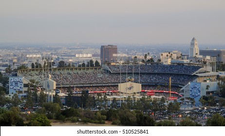 Los Angeles, MAY 25: Dodger Stadium view from top with city hall and downtown as background on MAY 25, 2015 at Los Angeles