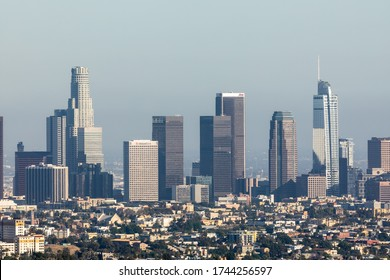 LOS ANGELES - MAY 26, 2020: Aerial view of skyscrapers in Downtown Los Angeles