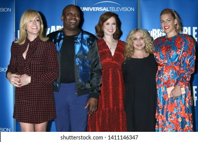 """LOS ANGELES - MAY 29:  Jane Krakowski, Tituss Burgess, Ellie Kemper, Carol Kane, Busy Philipps at the """"Unbreakable Kimmy Schmidt"""" FYC Event at the UCB Sunset Theatre on May 29, 2019 in Los Angeles, CA"""