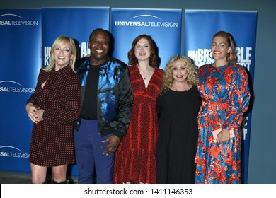 "LOS ANGELES - MAY 29:  Jane Krakowski, Tituss Burgess, Ellie Kemper, Carol Kane, Busy Philipps at the ""Unbreakable Kimmy Schmidt"" FYC Event at the UCB Sunset Theatre on May 29, 2019 in Los Angeles, CA"
