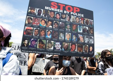 LOS ANGELES - MAY 30, 2020: Participants Of Protest March Against Police Violence Over Death Of George Floyd.