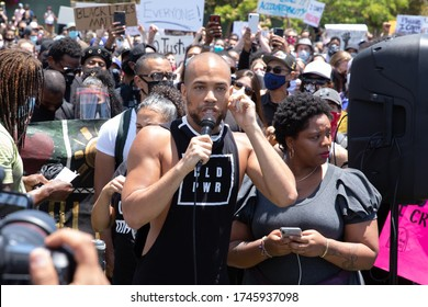LOS ANGELES - MAY 30, 2020: Actor Kendrick Sampson Participating At The Protest March Against Police Violence Over Death Of George Floyd.