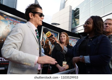 LOS ANGELES, MAY 31ST, 2018: Johnny Knoxville talks to television reporters on the red carpet during the premiere of Action Point at the Arclight Theatre in Hollywood.
