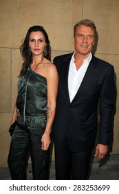 """LOS ANGELES - MAY 6:  Dolph Lundgren, Jenny Sanderson at the """"Skin Trade"""" Los Angeles Premiere at the Egyptian Theater on May 6, 2015 in Los Angeles, CA"""