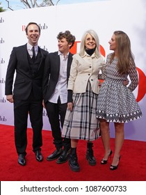 LOS ANGELES, May 6th, 2018: Actress Diane Keaton with her family, son Duke (2nd from left), and daughter Dexter (right) at the premiere of the movie Book Club, held at the Westwood Village Theatre.