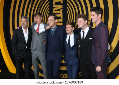 "LOS ANGELES - MAY 7: George Clooney, Jay Paulson, Lewis Pullman, Graham P Martin, Josh Bolt, Pico Alexander at the ""Catch-22"" Premiere  at the TCL Chinese Theater  on May 7, 2019 in Los Angeles, CA"