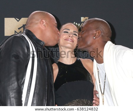 Los Angeles May 7 Vin Diesel Jordana Brewster Tyrese Gibson At The Mtv Movie And Television Awards On The Shrine Auditorium On May 7