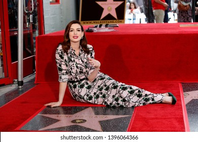 LOS ANGELES - MAY 9:  Anne Hathaway at the Anne Hathaway Star Ceremony on the Hollywood Walk of Fame on May 9, 2019 in Los Angeles, CA