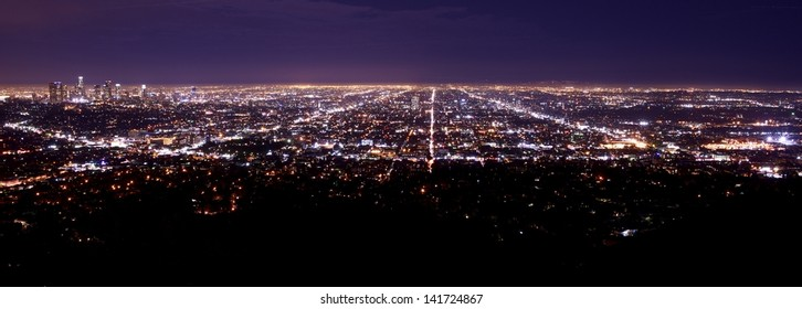 Los Angeles Metro Area Night Time Panorama. Los Angeles Downtown on the Left Side. American Cities Photo Collection.