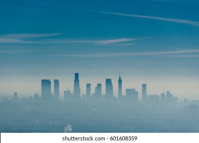 Los Angeles misty skyline, California, USA.