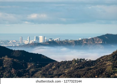 Los Angeles morning view of valley ground fog below Century City, Griffith Park, and Santa Monica Mountains in Southern California.  Shot taken from hilltop in the San Gabriel Mountains near Pasadena.