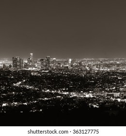 Los Angeles at night with urban buildings in Black and White