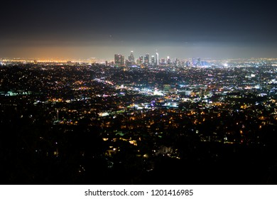 Los Angeles night view in the Griffith Observatory - DTLA, Los Angeles, California, USA: 06/30/2018