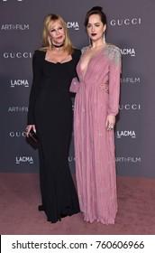LOS ANGELES - NOV 04:  Melanie Griffith and Dakota Johnson arrives for the 2017 LACMA Art + Film Gala on November 04, 2017 in Los Angeles, CA