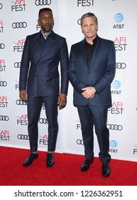 "LOS ANGELES - NOV 09:  Mahershala Ali and Viggo Mortensen arrives to the ""Green Book"" AFI Screening  on November 9, 2018 in Hollywood, CA"