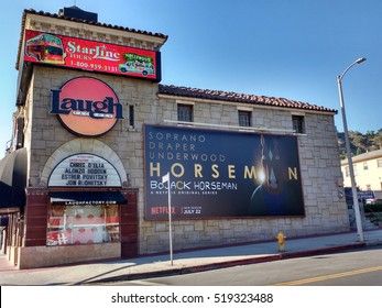 LOS ANGELES, NOV 13TH, 2016: The historic Laugh Factory in Hollywood on the Sunset Strip, a legendary comedy club which opened in 1979 and has hosted many of the most famous comics in the world.
