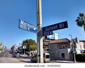 LOS ANGELES, NOV 13TH, 2016: Close up of the Marmont Lane and Sunset Boulevard signs where the historic Chateau Marmont hotel is located. First built in 1929 it has welcomed many celebrity guests.