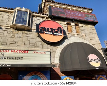LOS ANGELES, NOV 13TH, 2016: The facade of the historic Laugh Factory in Hollywood on the Sunset Strip, a comedy club which opened in 1979 and has hosted many of the most famous comics in the world.