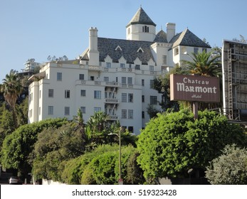 LOS ANGELES, NOV 13TH, 2016:The historic Chateau Marmont hotel on the famous Sunset Strip, which opened in 1929 and has welcomed many legendary celebrity guests and has been the site of several movies